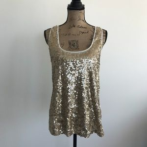 Express White Tank With Gold Sequins Large